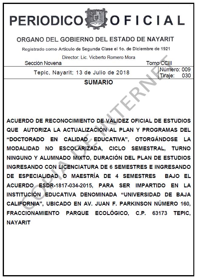 RVOE oficial: Doctorado en Calidad Educativa