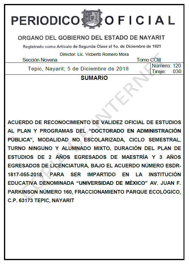 RVOE oficial: Doctorado en Administración Pública