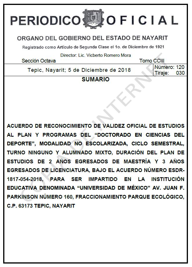RVOE oficial: Doctorado en Ciencias del Deporte