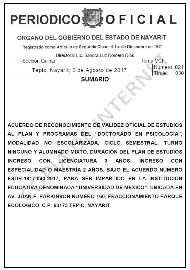 RVOE oficial: Doctorado en Psicología