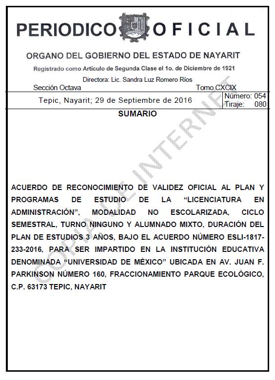 RVOE oficial: Licenciatura en Administración