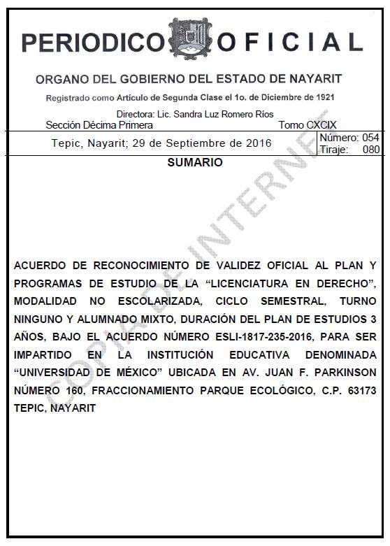 RVOE oficial: Licenciatura en Derecho