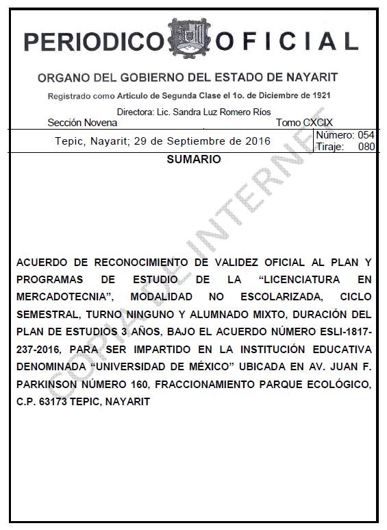 RVOE oficial: Licenciatura en Mercadotecnia
