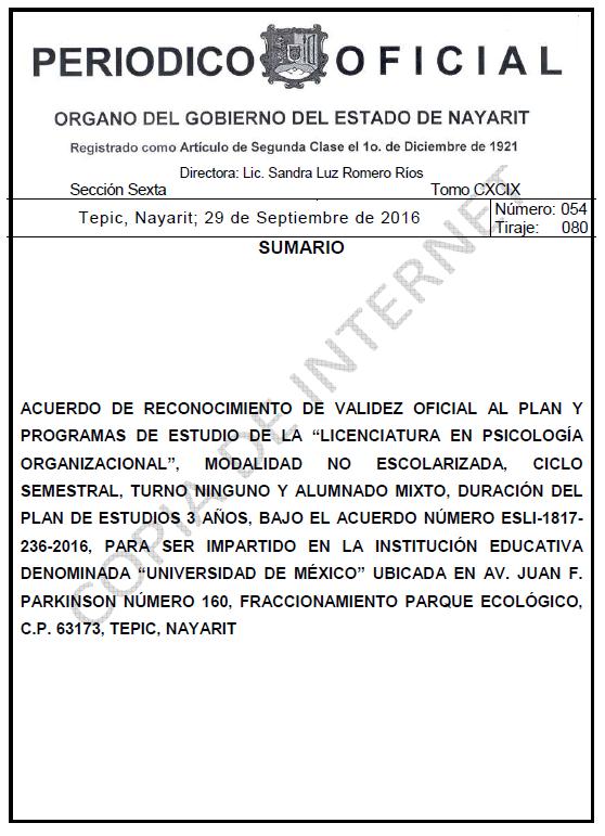 RVOE oficial: Licenciatura en Psicología Organizacional