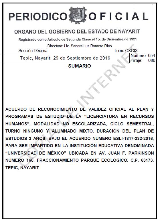 RVOE oficial: Licenciatura en Recursos Humanos